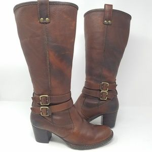 "Born women 6.5"" brown tall leather buckle boots"